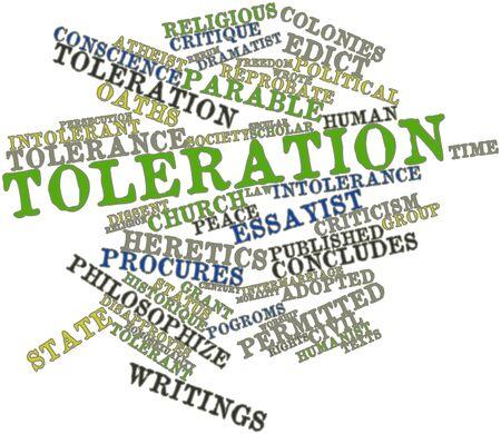 edicto: Nube palabra abstracta para la Tolerancia con las etiquetas y términos relacionados