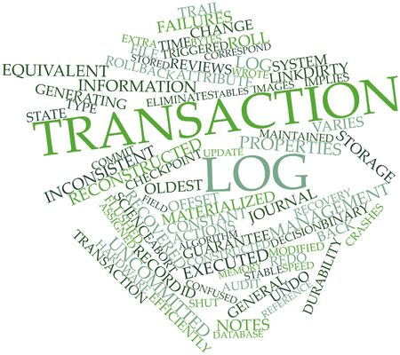 Abstract word cloud for Transaction log with related tags and terms Stock Photo - 16629092