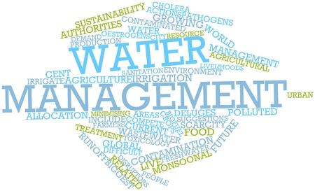 mundo contaminado: Nube palabra abstracta para la gestión del agua con las etiquetas y términos relacionados