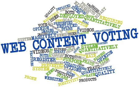 Abstract word cloud for Web content voting with related tags and terms Stock Photo