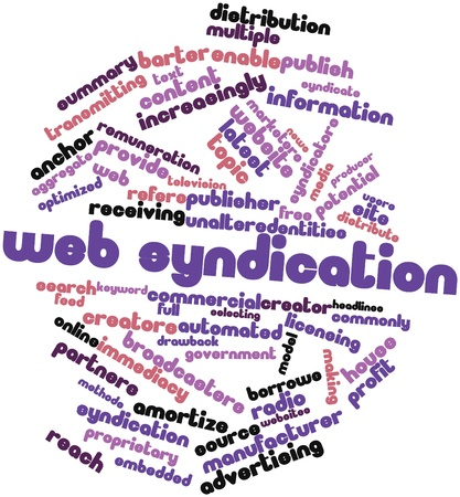 Abstract word cloud for Web syndication with related tags and terms Stock Photo - 16629001