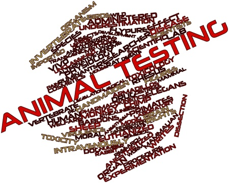 leprosy: Abstract word cloud for Animal testing with related tags and terms Stock Photo