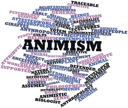 Abstract word cloud for Animism with related tags and terms Stock Photo - 16632420