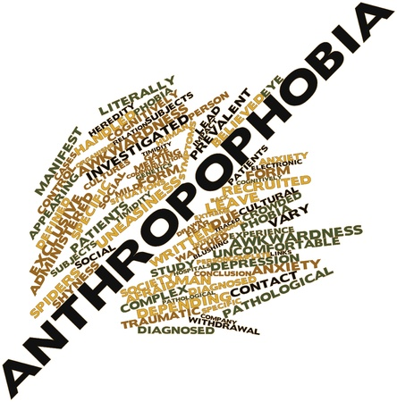 uneasiness: Abstract word cloud for Anthropophobia with related tags and terms Stock Photo