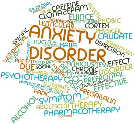 Abstract word cloud for Anxiety disorder with related tags and terms
