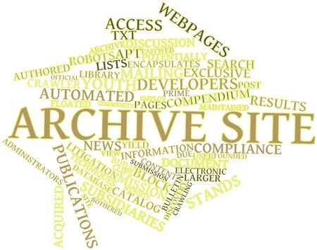 apt: Abstract word cloud for Archive site with related tags and terms Stock Photo