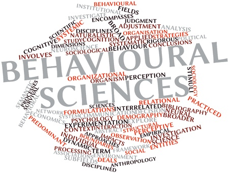 predominant: Abstract word cloud for Behavioural sciences with related tags and terms Stock Photo
