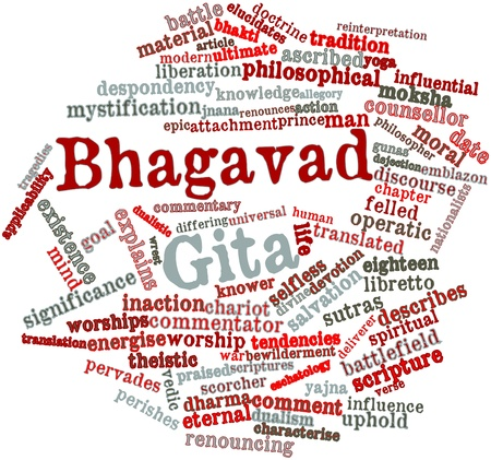 dualistic: Abstract word cloud for Bhagavad Gita with related tags and terms