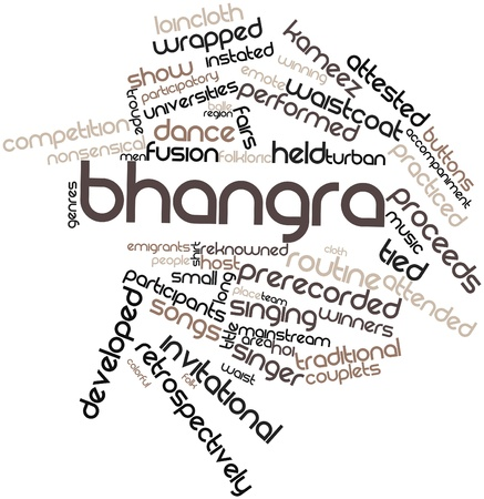 inaugural: Abstract word cloud for Bhangra with related tags and terms