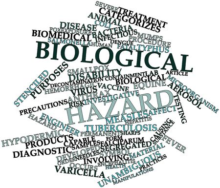 hepatitis vaccination: Abstract word cloud for Biological hazard with related tags and terms Stock Photo