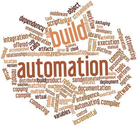 linker: Abstract word cloud for Build automation with related tags and terms Stock Photo