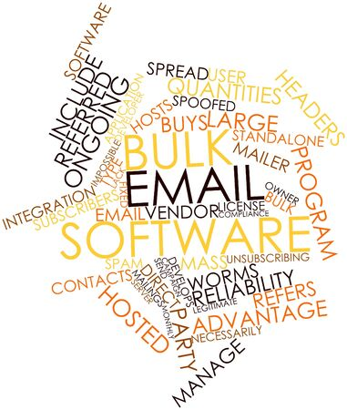 mailer: Abstract word cloud for Bulk email software with related tags and terms Stock Photo
