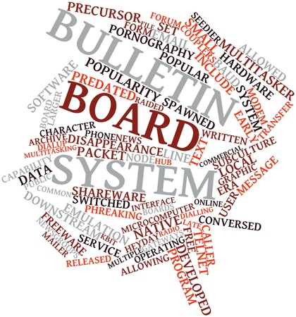 mailer: Abstract word cloud for Bulletin board system with related tags and terms Stock Photo