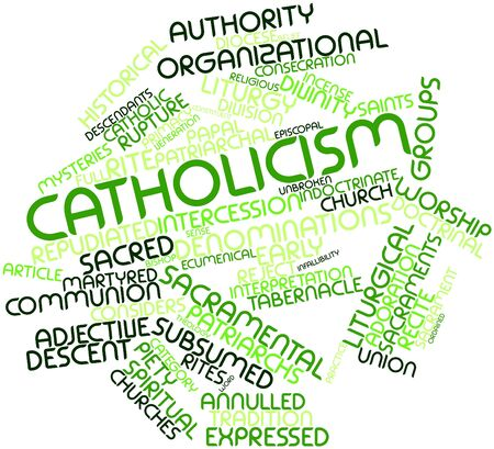 Abstract word cloud for Catholicism with related tags and terms Stock Photo - 16632419