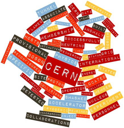 atomic center: Abstract word cloud for CERN with related tags and terms Stock Photo
