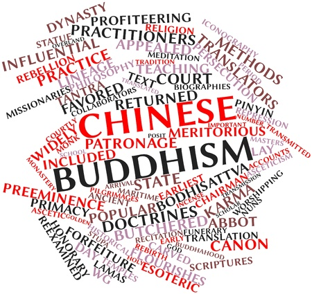 collaborators: Abstract word cloud for Chinese Buddhism with related tags and terms Stock Photo