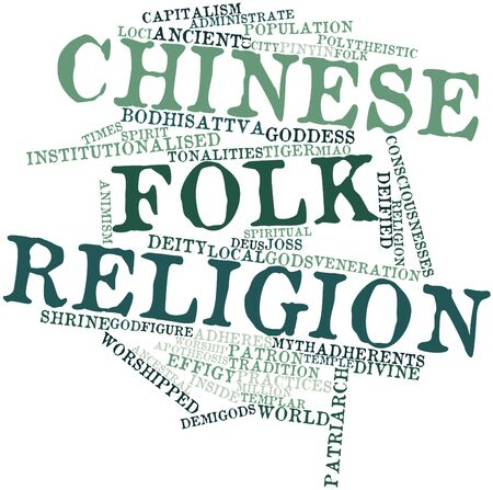 worshipped: Abstract word cloud for Chinese folk religion with related tags and terms Stock Photo