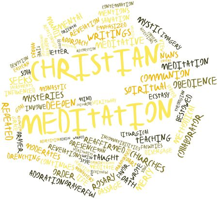 meditator: Abstract word cloud for Christian meditation with related tags and terms