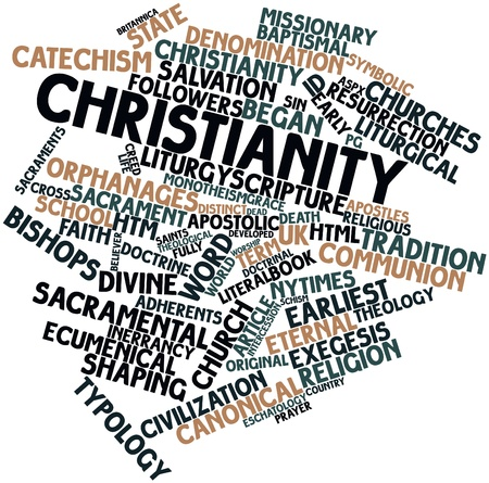 Abstract word cloud for Christianity with related tags and terms Stock Photo - 16632907