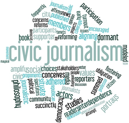proponents: Abstract word cloud for Civic journalism with related tags and terms Stock Photo