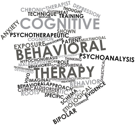 Abstract word cloud for Cognitive behavioral therapy with related tags and terms