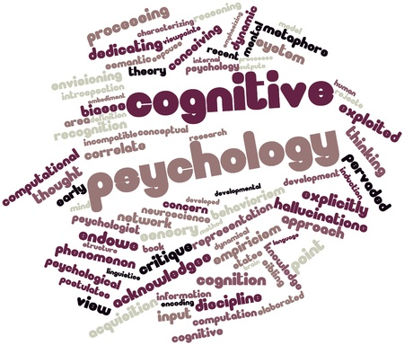 critique: Abstract word cloud for Cognitive psychology with related tags and terms Stock Photo