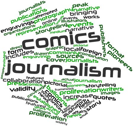 existed: Abstract word cloud for Comics journalism with related tags and terms