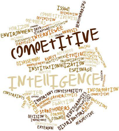 competitividad: Nube palabra abstracta para la inteligencia competitiva con las etiquetas y términos relacionados