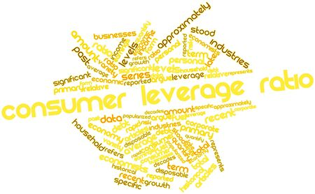 Abstract word cloud for Consumer leverage ratio with related tags and terms