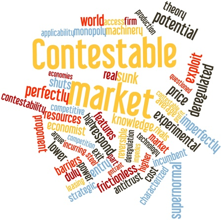 proponent: Abstract word cloud for Contestable market with related tags and terms