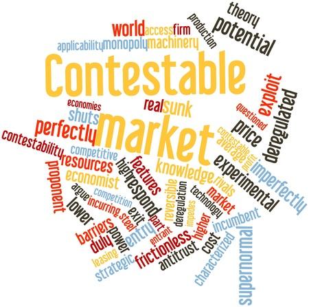 determines: Word cloud astratto per il mercato contendibile con tag correlati e termini