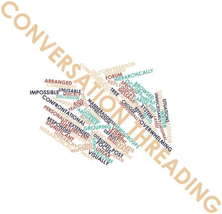threading: Abstract word cloud for Conversation threading with related tags and terms Stock Photo