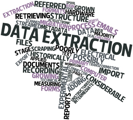 Abstract word cloud for Data extraction with related tags and terms Stock Photo - 16631291