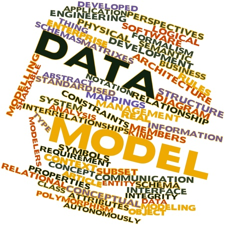 inferring: Abstract word cloud for Data model with related tags and terms Stock Photo