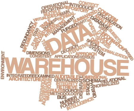 Abstract word cloud for Data warehouse with related tags and terms photo