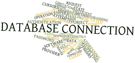 Abstract word cloud for Database connection with related tags and terms Stock Photo
