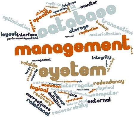 maintainability: Abstract word cloud for Database management system with related tags and terms Stock Photo