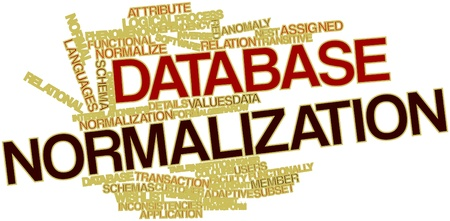temporarily: Abstract word cloud for Database normalization with related tags and terms
