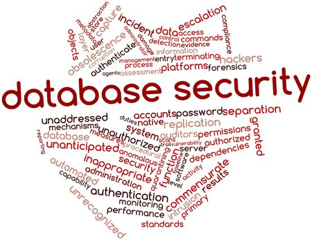 metadata: Word cloud astratto per la sicurezza del database con tag correlati e termini