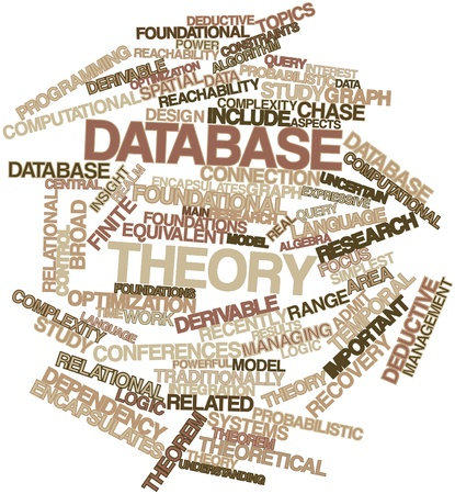 Abstract word cloud for Database theory with related tags and terms photo