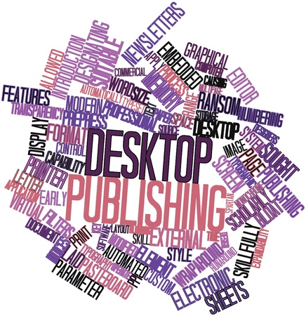 automatically: Abstract word cloud for Desktop publishing with related tags and terms Stock Photo