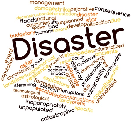 catastrophic: Abstract word cloud for Disaster with related tags and terms