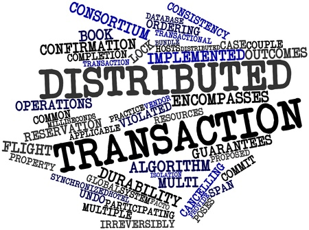 distributed: Abstract word cloud for Distributed transaction with related tags and terms Stock Photo