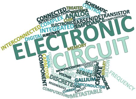thereof: Abstract word cloud for Electronic circuit with related tags and terms Stock Photo