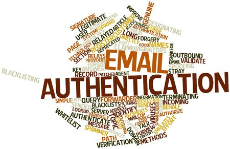Abstract word cloud for Email authentication with related tags and terms Stock Photo - 16631217