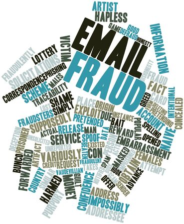 spoof: Abstract word cloud for Email fraud with related tags and terms