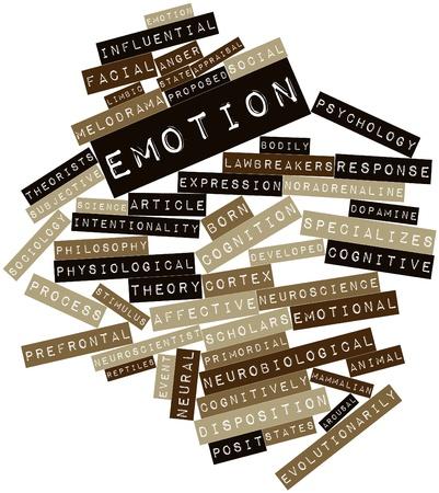 sociologia: Nube palabra abstracta por la emoción con las etiquetas y términos relacionados Foto de archivo