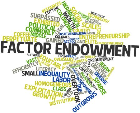 converged: Abstract word cloud for Factor endowment with related tags and terms Stock Photo