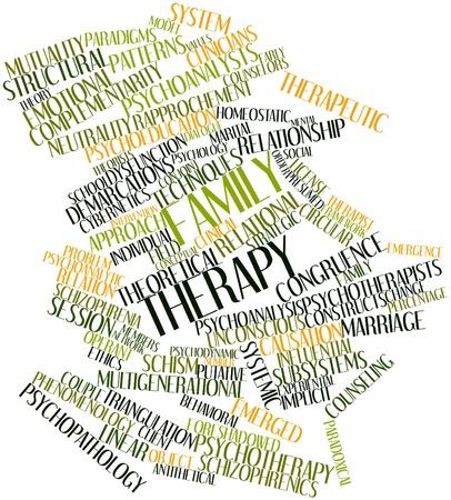 esquizofrenia: Nube palabra abstracta para terapia familiar con las etiquetas y t�rminos relacionados Foto de archivo