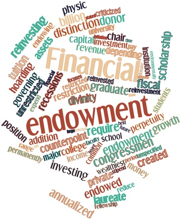 focuses: Abstract word cloud for Financial endowment with related tags and terms